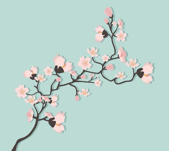 Söt illustration för körsbärsträd