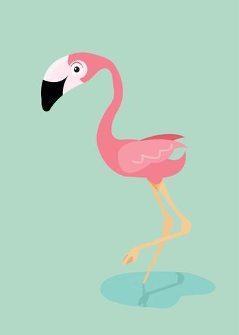 Vector de pájaro flamenco rosado