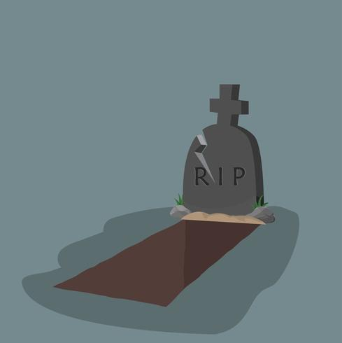 öppen grav och gravsten platt design vektor