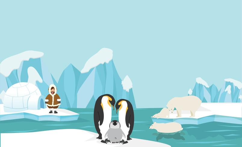 Animals and people of North pole Arctic landscape background vector