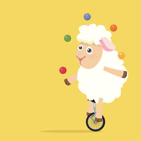 Cute sheep  riding a bike