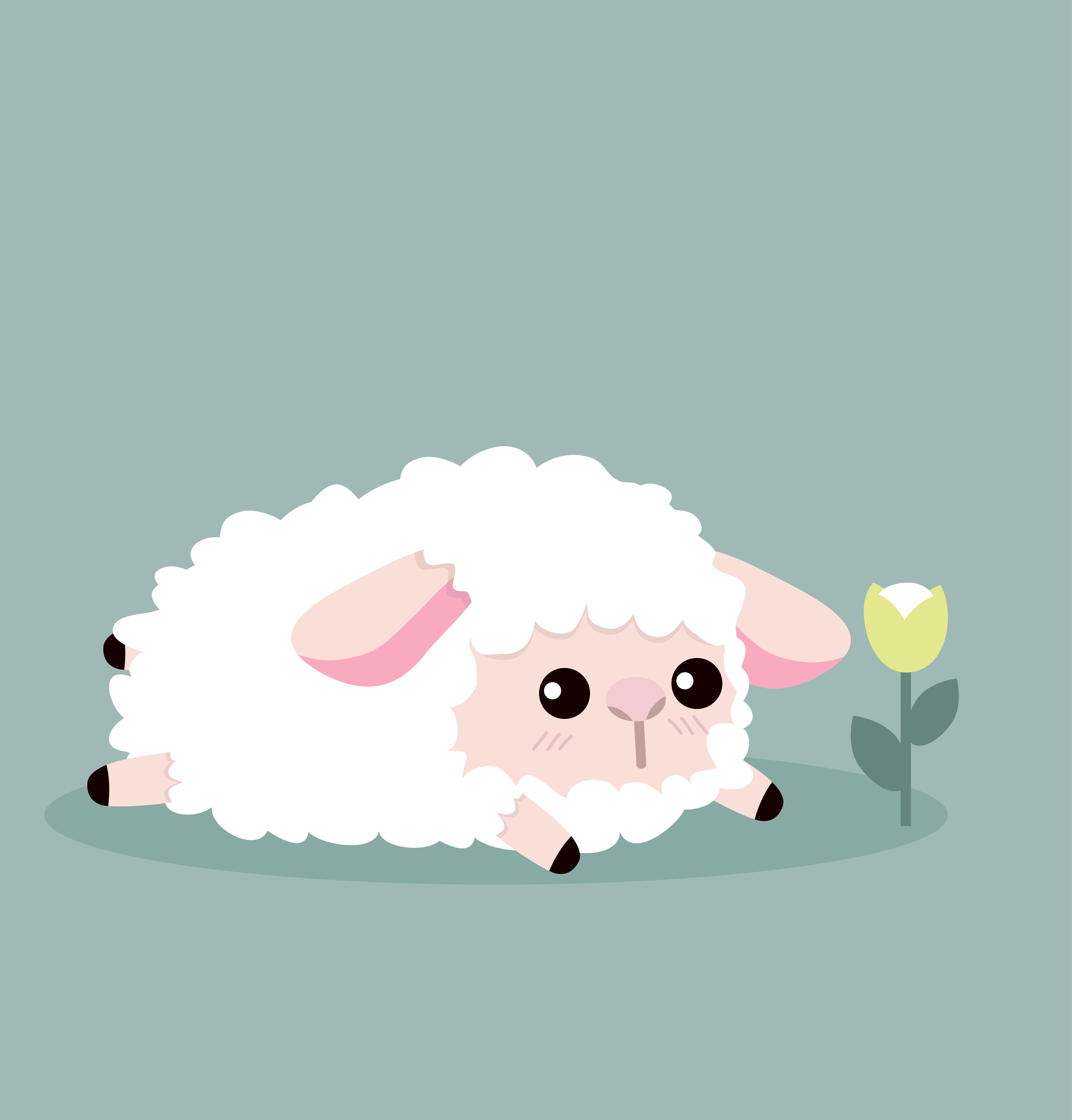 Cute Sheep And Flower Download Free Vectors Clipart