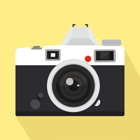 retro Camera Flat style with long shadow