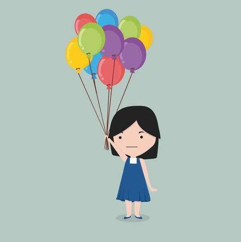 small girl holding balloon vector