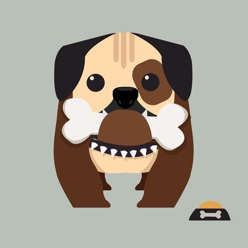 söt bulldogg som håller ett ben