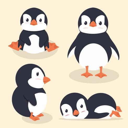 Cute little penguin vector set