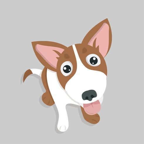 Vetor de cão feliz engraçado bonito