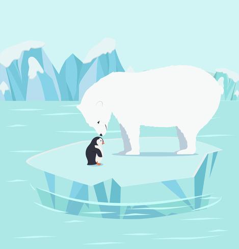 Ursos polares e pinguins em um iceberg no pólo norte do Ártico