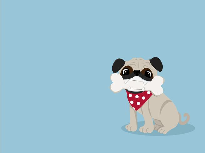 cute bulldog with bone vector