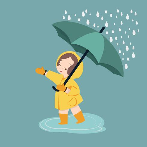 söt tjejparaply under regnperioden