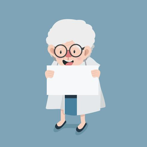 old woman doctor with holding a blank sign vector