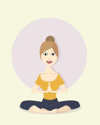 Mujer yoga vector