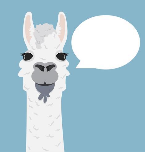 Ritratto di lama di alpaca con il fumetto vettore