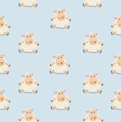 Cute sheep sitting happy vertor pattern
