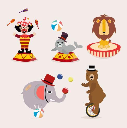 Linda colección de personajes de circo.