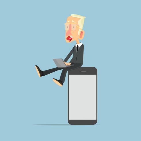 empresario en concepto de teléfono inteligente