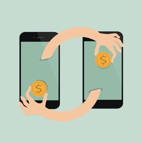 Transferência de pagamento em telefones celulares vetor
