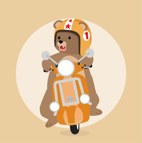 Big bear riding scooter
