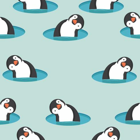 Pingüinos en patrón de agua vector