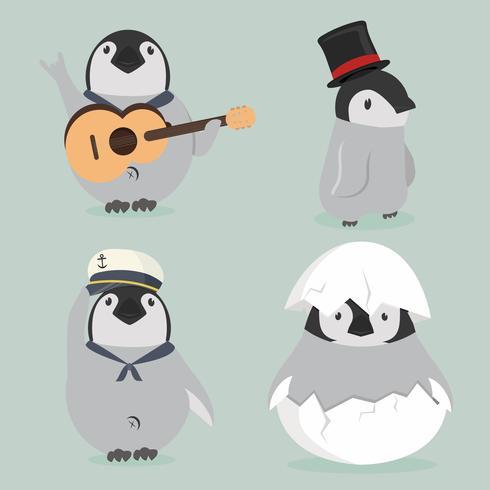 conjunto de personajes de pingüino bebé vector