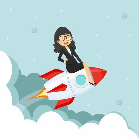 Geschäftsfrau sitzt auf einer fliegenden Rakete