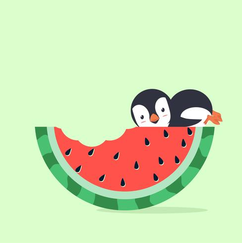 vattenmelonbit med pingvin
