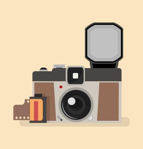 Vintage kamera med kamerafilmrulle