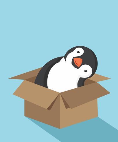 Dibujos animados lindo pingüino en la caja vector