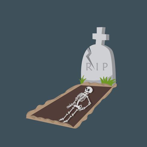 skelett Vector platt med grav