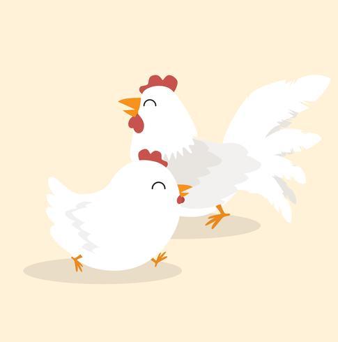 Carácter animal pareja pollo blanco