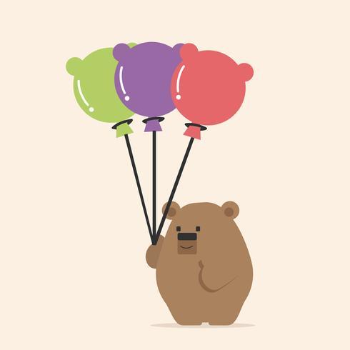 Cute bear holding balloon cartoon