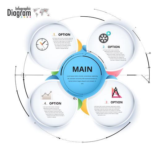 Cirkel infographic diagram för presentation.