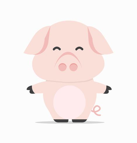 adorable little baby pig  vector