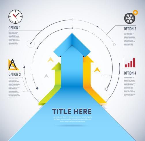 Växa upp infographic. 4 val av pil upp. Ta vinstkonceptdiagram. vektor