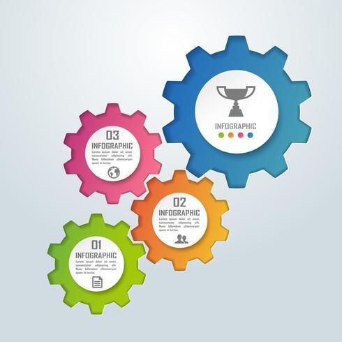 Färgglad affärsinfografik och diagram för redskapform, papperskonstkoncept och affärsidé för framgång
