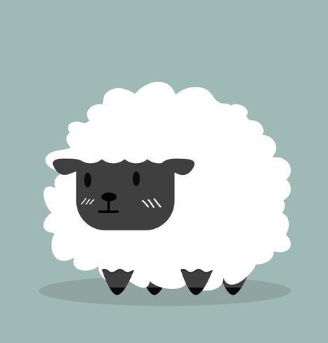 Leuke zwarte kleine schapenvector