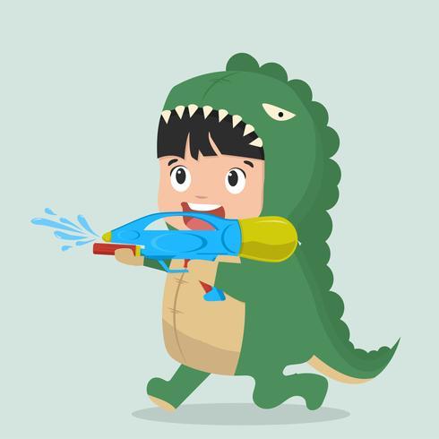 Chico lindo dinosaurio de moda con pistola de agua vector
