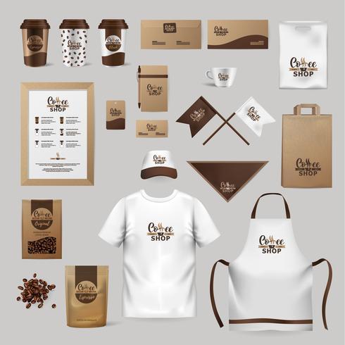 Företagsidentitet kaffebransch. Mall för kläder, paket, ämnen, disk.