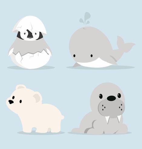 Nette Artic Tiere Sammlung im flachen Design