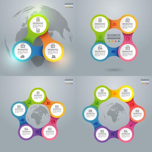 Infografía y diagrama de negocios coloridos, concepto de arte de papel e idea de negocio de éxito