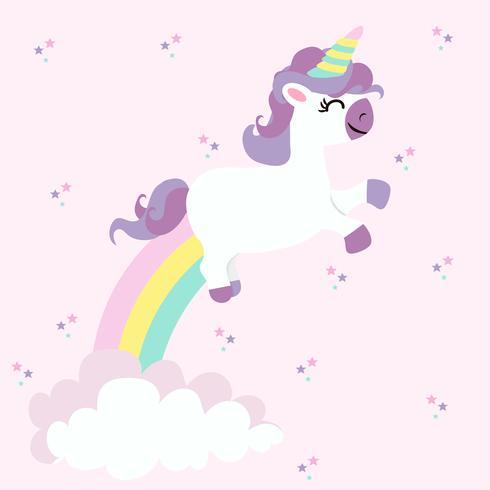 Licorne aux arcs-en-ciel au pastel coloré