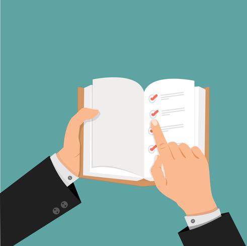 manos de hombre de negocios usando la lista de verificación en libro abierto vector