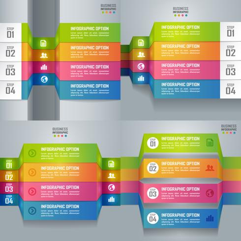 Samling av färgglada affärsinfografier och diagram, papperskonstkoncept och framgångsidé