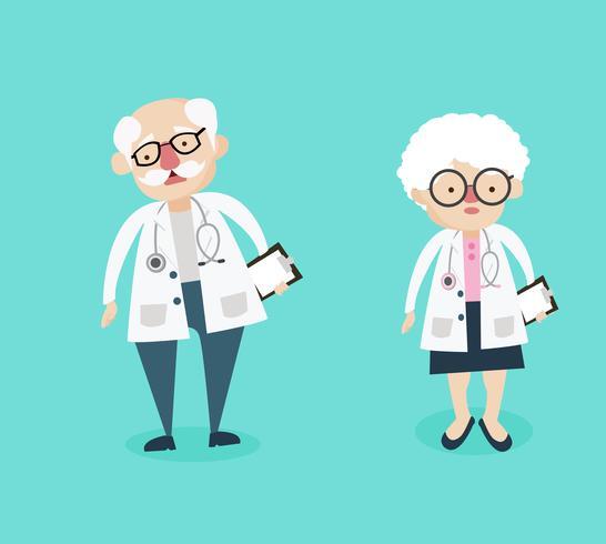 Personagens de homem e mulher médico vetor