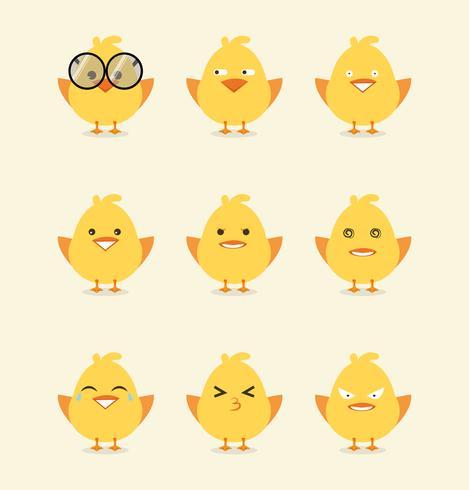 Colección de emoticonos de pollito