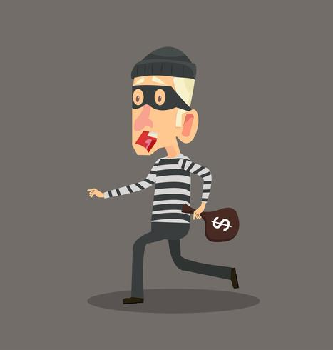 Thief  stealing with bag of money character design