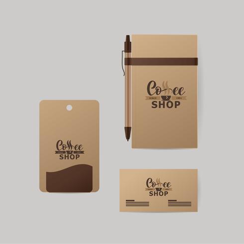Industria del caffè identità aziendale. Modello di blocco note, biglietto da visita, modulo.