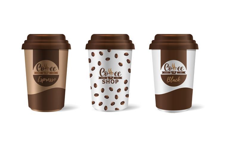 Unternehmensidentität Kaffeeindustrie. Vorlage von Pappbechern für Getränke.