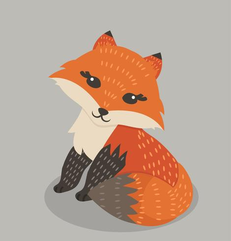 Cute orange  fox cartoon Illustration vector