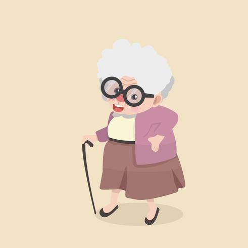 Happy Grandmother going out for a walk